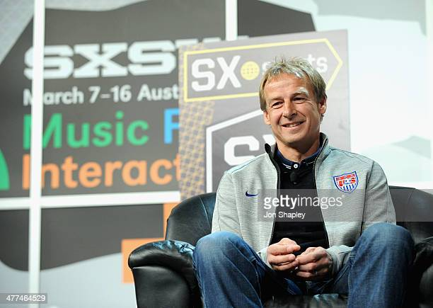 Jurgen Klinsmann head coach of the US Men's National Soccer Team speaks onstage at SXsports 'Knocking Down the Door The US National Team and...