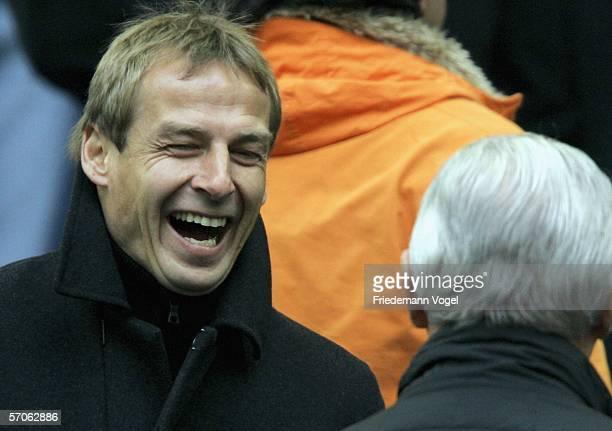 Jurgen Klinsmann, headcoach of the German National Team watches the Bundesliga match between FC Schalke 04 and Eintracht Frankfurt at the Veltins...