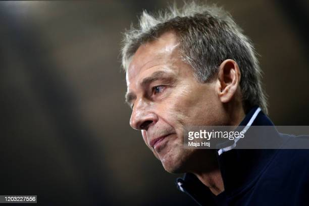 Jurgen Klinsmann, Manager of Hertha Berlin looks on during the Bundesliga match between Hertha BSC and FC Schalke 04 at Olympiastadion on January 31,...