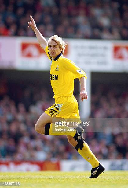 Jurgen Klinsmann of Spurs in action during an FA Premiership match between Southampton and Tottenham Hotspur at the Dell on April 2, 1995 in...