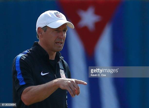 Jurgen Klinsmann of the United States looks on during the US Men's National Team Training at Estadio Pedro Marrero on October 6 2016 in Havana Cuba