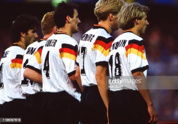 Jurgen Klinsmann, Stefan Effenberg, Jurgen Kohler of Germany during the European Championship match Germany and Sweden at Rasunda Stadium, Solna,...
