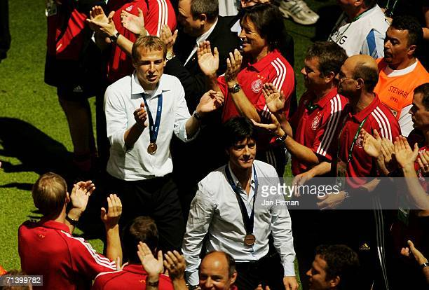 Jurgen Klinsmann the German Team Coach celebrates after the FIFA World Cup Germany 2006 Third Place Play-off match between Germany and Portugal...