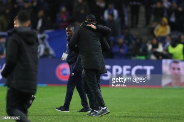 Jurgen Klopp coach of Liverpool and Porto's Portuguese head coach Sergio Conceicao during the UEFA Champions League match between FC Porto and...