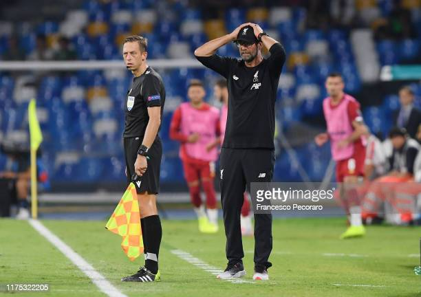 Jurgen Klopp coach of Liverpool FC stands disappointed during the UEFA Champions League group E match between SSC Napoli and Liverpool FC at Stadio...