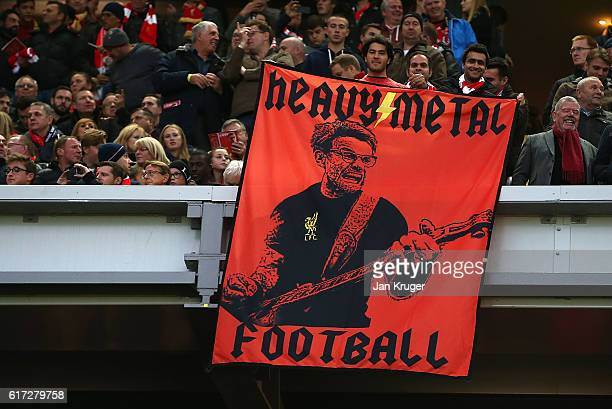 Jurgen Klopp flag during the Premier League match between Liverpool and West Bromwich Albion at Anfield on October 22 2016 in Liverpool England