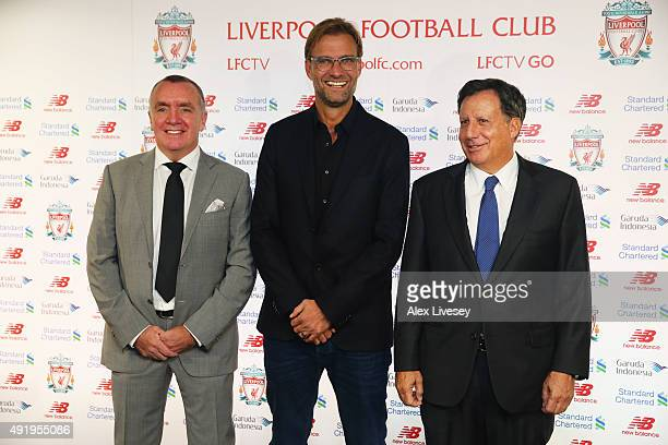 Jurgen Klopp is unveiled as the new manager of Liverpool FC alongside Ian Ayre the Chief Executive Officer of Liverpool and Tom Werner the Liverpool...