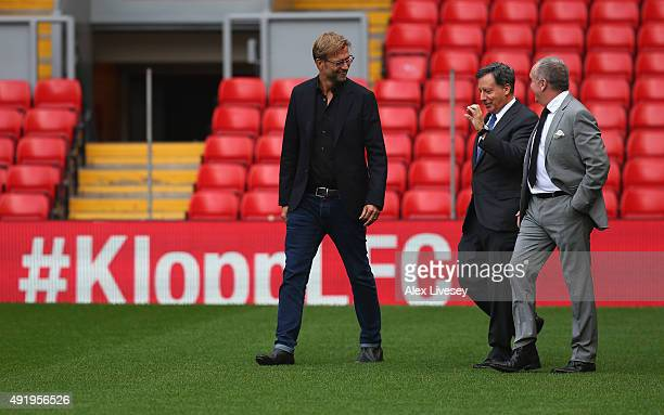 Jurgen Klopp is unveiled as the new manager of Liverpool FC and talks with Tom Werner the chairman and Ian Ayre the chief executive as they arrive...