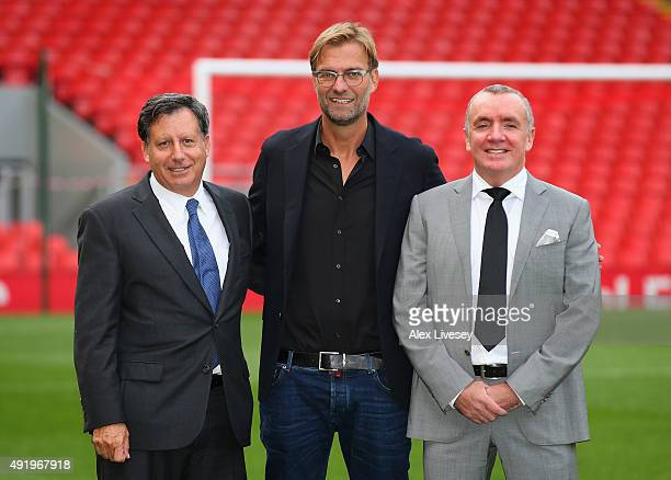 Jurgen Klopp is unveiled as the new manager of Liverpool FC as he stands alongside Tom Werner the chairman and Ian Ayre the chief executive during a...