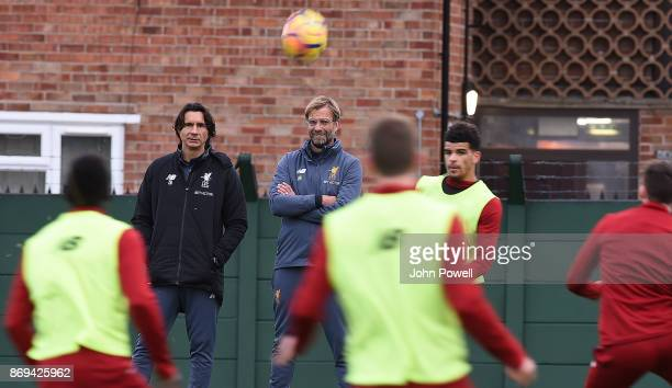 Jurgen Klopp manager and Zeljko Buvac of Liverpool during a training session at Melwood Training Ground on November 2 2017 in Liverpool England