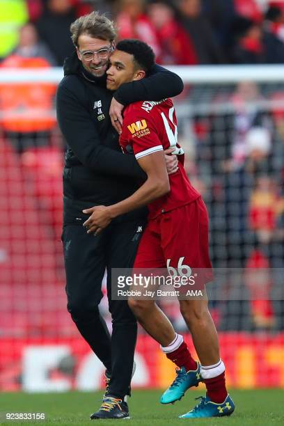 Jurgen Klopp manager / head coach of Liverpool and Trent AlexanderArnold of Liverpool celebrate during the Premier League match between Liverpool and...