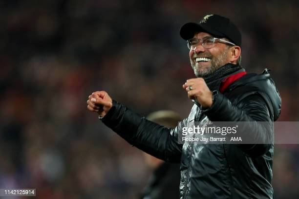 Jurgen Klopp manager / head coach of Liverpool celebrates at full time during the UEFA Champions League Semi Final second leg match between Liverpool...