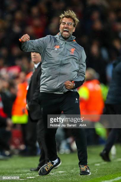 Jurgen Klopp manager / head coach of Liverpool celebrates the first goal during the UEFA Champions League Semi Final First Leg match between...