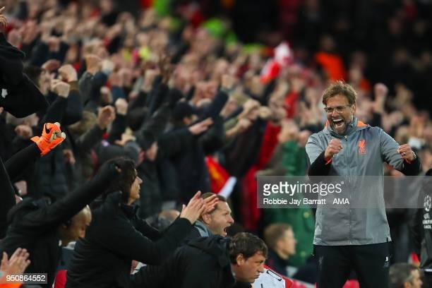 Jurgen Klopp manager / head coach of Liverpool celebrates the first goal during the UEFA Champions League Semi Final First Leg match between...