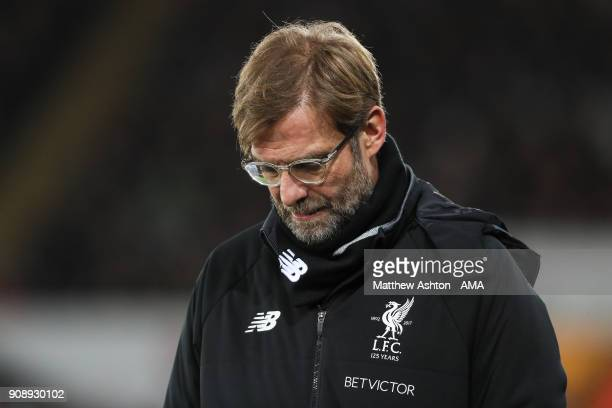 Jurgen Klopp manager / head coach of Liverpool looks dejected during the Premier League match between Swansea City and Liverpool at Liberty Stadium...