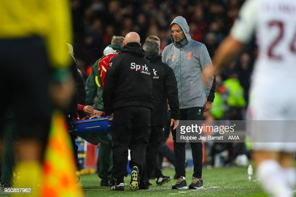 Jurgen Klopp manager / head coach of Liverpool reacts as Alex OxladeChamberlain of Liverpool is taken off on a stretcher during the UEFA Champions...