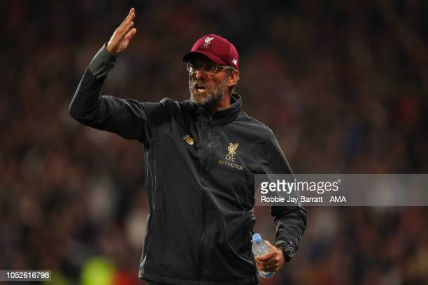 Jurgen Klopp manager / head coach of Liverpool reacts during the Premier League match between Huddersfield Town and Liverpool FC at John Smith's...