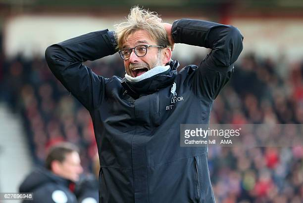 Jurgen Klopp manager / head coach of Liverpool reacts during the Premier League match between AFC Bournemouth and Liverpool at Vitality Stadium on...