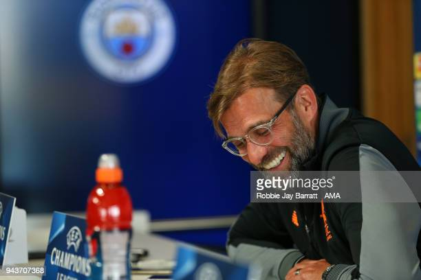 Jurgen Klopp manager / head coach of Liverpool talks to the press during a Press Conference and Training Session at Manchester City Football Academy...