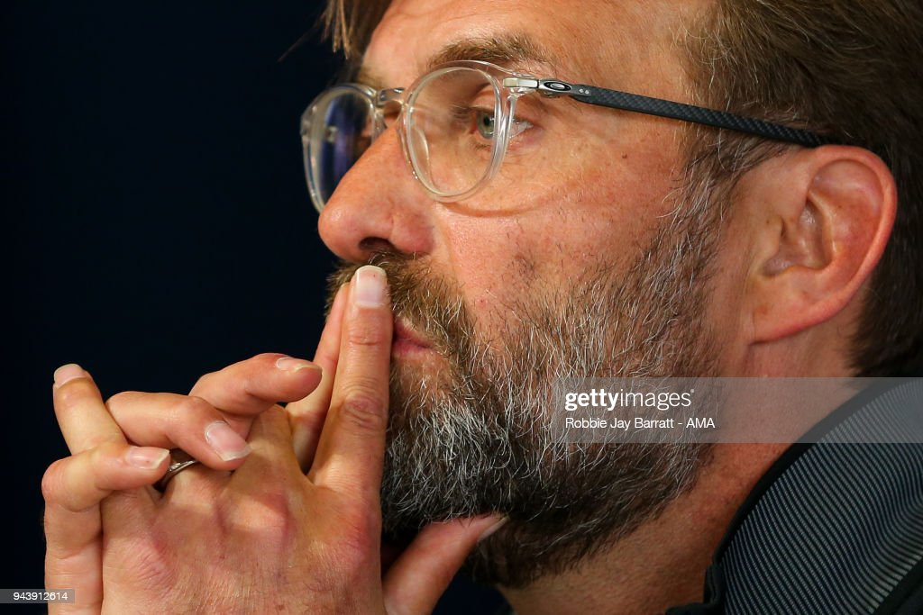 Jurgen Klopp manager / head coach of Liverpool talks to the press during a Press Conference and Training Session at Manchester City Football Academy on April 9, 2018 in Manchester, England.