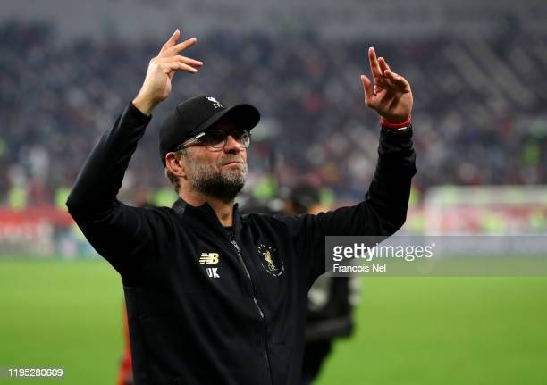 Jurgen Klopp Manager of Liverpool acknowledges fans after winning the FIFA Club World Cup Qatar 2019 Final between Liverpool FC and CR Flamengo at...