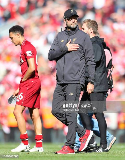 Jurgen Klopp Manager of Liverpool acknowledges the fans after the Premier League match between Liverpool FC and Wolverhampton Wanderers at Anfield on...