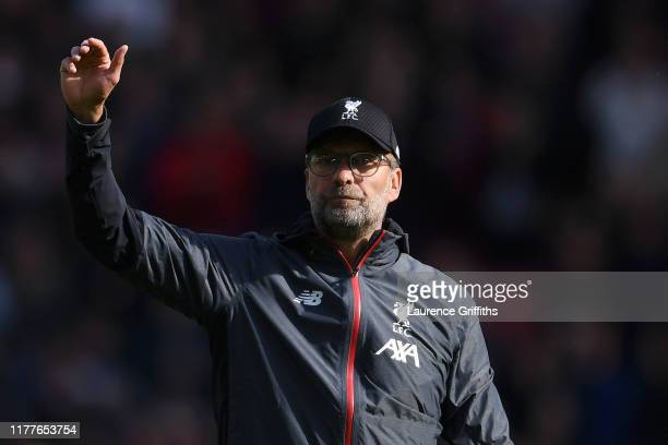 Jurgen Klopp, Manager of Liverpool acknowledges the fans after the Premier League match between Sheffield United and Liverpool FC at Bramall Lane on...