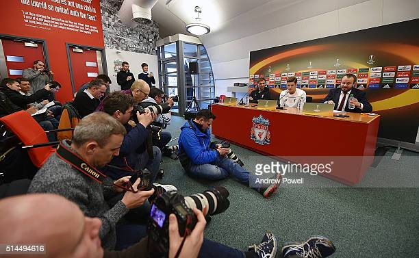 Jurgen Klopp manager of Liverpool and Adam Lallana during a Press Conference at Melwood Training Ground on March 9 2016 in Liverpool United Kingdom