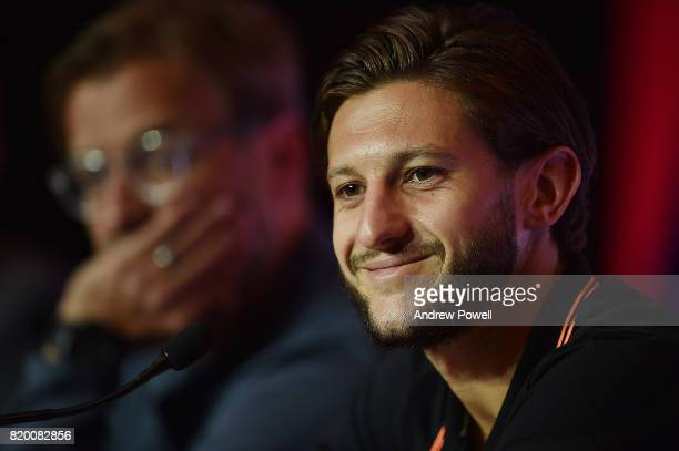 Jurgen Klopp manager of Liverpool and Adam Lallana during a press conference on July 21 2017 in Hong Kong Hong Kong