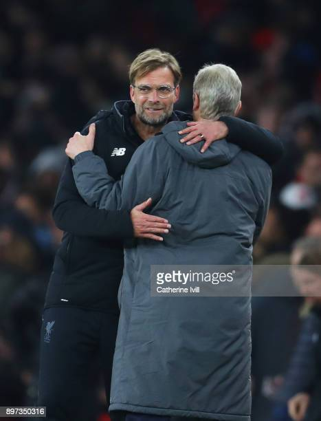 Jurgen Klopp Manager of Liverpool and Arsene Wenger Manager of Arsenal shake hands after the Premier League match between Arsenal and Liverpool at...