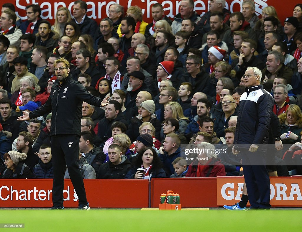 Jurgen Klopp manager of Liverpool and Claudio Ranieri manager of Leicester City react during the Barclays Premier League match between Liverpool and Leicester City at Anfield on December 26, 2015 in Liverpool, England.
