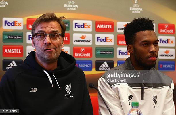 Jurgen Klopp manager of Liverpool and Daniel Sturridge look on during a Liverpool press conference ahead of their UEFA Europa League round of 32...