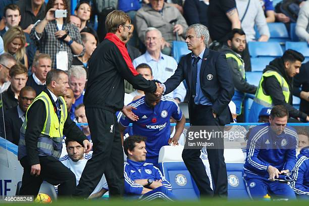 Jurgen Klopp manager of Liverpool and Jose Mourinho Manager of Chelsea shake hands after the Barclays Premier League match between Chelsea and...