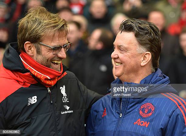 Jurgen Klopp manager of Liverpool and Louis van Gaal manager of Manchester United shake hands before the Barclays Premier League match between...