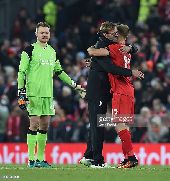 Jurgen Klopp Manager of Liverpool and Lucas hug at the end of the EFL Cup QuarterFinal match between Liverpool and Leeds United at Anfield on...