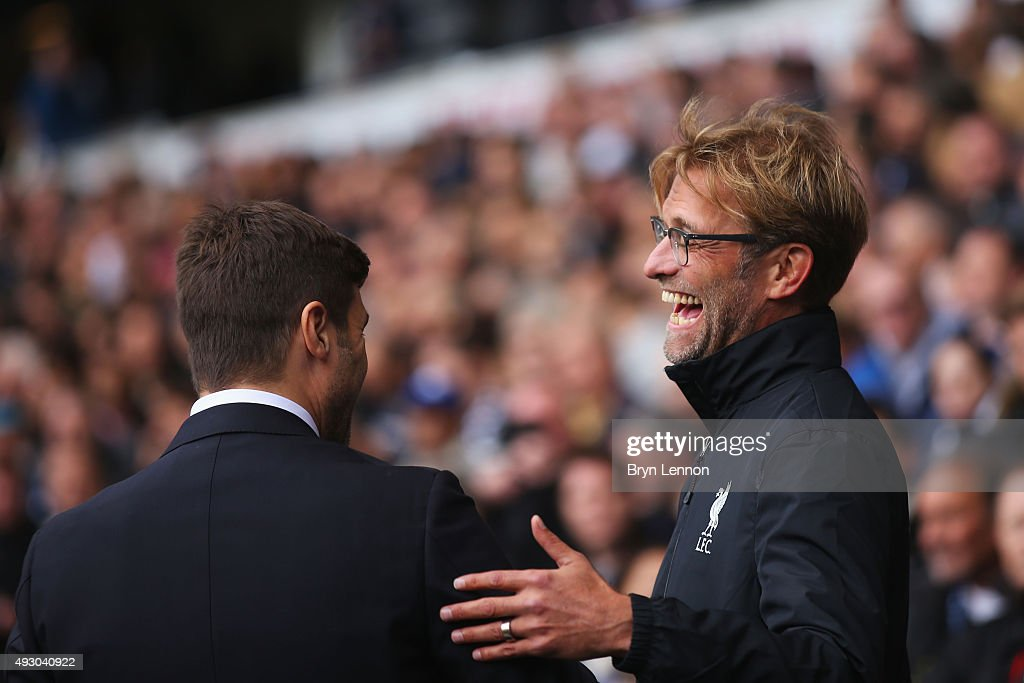 Jurgen Klopp, manager of Liverpool and Mauricio Pochettino Manager of Tottenham Hotspur greet prior to the Barclays Premier League match between Tottenham Hotspur and Liverpool at White Hart Lane on October 17, 2015 in London, England.