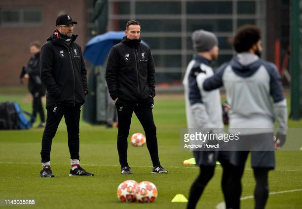 Jurgen Klopp manager of Liverpool and Pep Lijnders assistant manager of Liverpool during a training session at Melwood Training Ground on April 16...