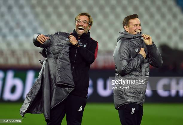 Jurgen Klopp manager of Liverpool and Pep Lijnders coach of Liverpool during a training session at Rajko Mitic Stadium on November 5, 2018 in...
