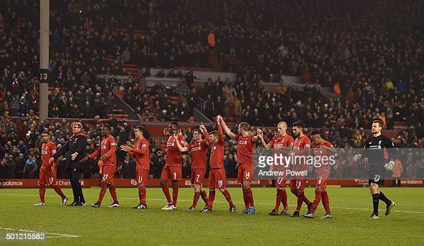 Jurgen Klopp manager of Liverpool and players celebrate at the end of the Barclays Premier League match between Liverpool and West Bromwich Albion at...