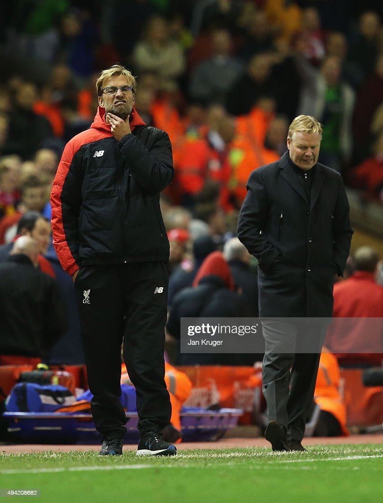 Jurgen Klopp (L), manager of Liverpool and Ronald Koeman manager of Southampton react after the final whistle in the Barclays Premier League match between Liverpool and Southampton at Anfield on October 25, 2015 in Liverpool, England.