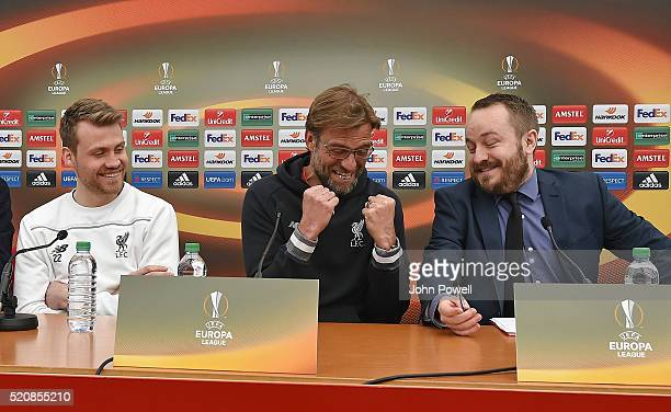 Jurgen Klopp manager of Liverpool and Simon Mignolet of Liverpool during a press conference at Melwood Training Ground on April 13 2016 in Liverpool...