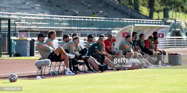 Jurgen Klopp manager of Liverpool and the bench during the Pre Season match between Liverpool and Bologna on August 05, 2021 in Evian-les-Bains,...