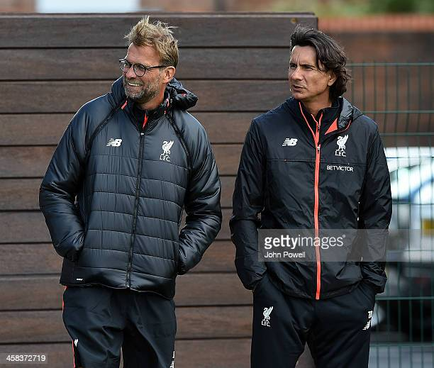 Jurgen Klopp manager of Liverpool and Zeljko Buvac first team coach of Liverpool during the first day back at training at Melwood Training Ground on...