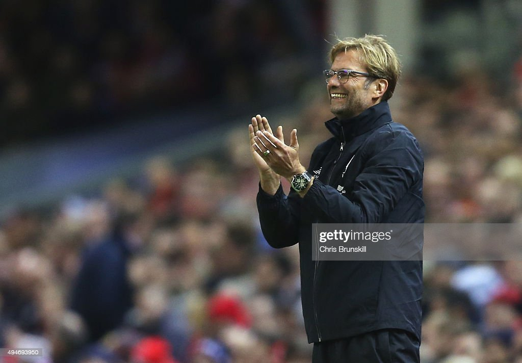 Jurgen Klopp, manager of Liverpool applauds during the Capital One Cup Fourth Round match between Liverpool and AFC Bournemouth at Anfield on October 28, 2015 in Liverpool, England.