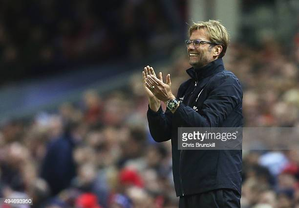 Jurgen Klopp manager of Liverpool applauds during the Capital One Cup Fourth Round match between Liverpool and AFC Bournemouth at Anfield on October...