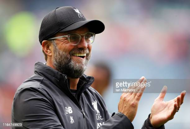 Jurgen Klopp Manager of Liverpool applauds fans following during the PreSeason Friendly match between Liverpool FC and SSC Napoli at Murrayfield on...