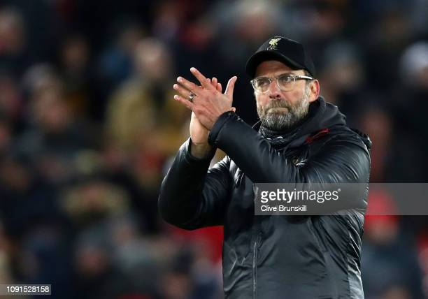 Jurgen Klopp Manager of Liverpool applauds the crowd after the Premier League match between Liverpool FC and Leicester City at Anfield on January 30...