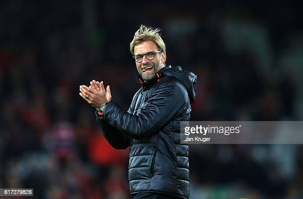 Jurgen Klopp Manager of Liverpool applauds the fans following their team's 21 victory during the Premier League match between Liverpool and West...