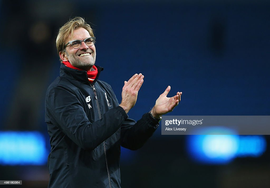 Jurgen Klopp, manager of Liverpool applauds the supporters after his team's 4-1 win in the Barclays Premier League match between Manchester City and Liverpool at Etihad Stadium on November 21, 2015 in Manchester, England.