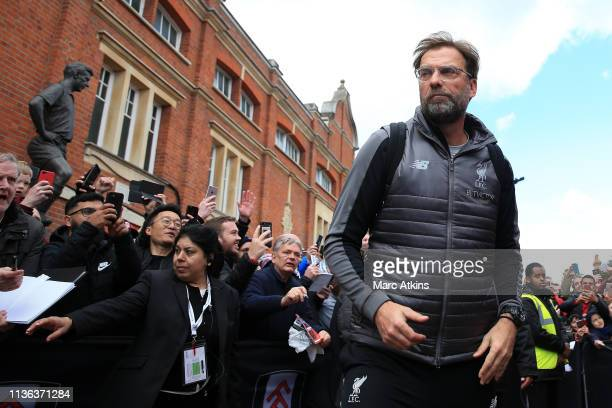 Jurgen Klopp Manager of Liverpool arrives at the stadium ahead of the Premier League match between Fulham FC and Liverpool FC at Craven Cottage on...